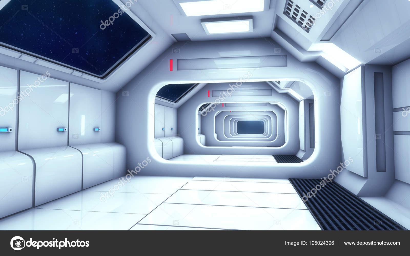 Render Futuristic Spaceship Interior Corridor — Stock Photo