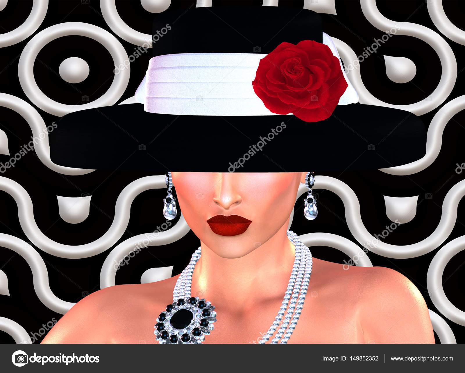 brand new 0ce08 4a601 Escena de la moda, atractiva mujer con sombrero estilo vintage blanco y  negro con una rosa roja en nuestra 3d render estilo arte digital.