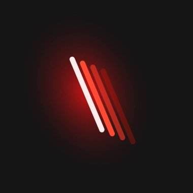 Red neon character font on black background with reflections, ve