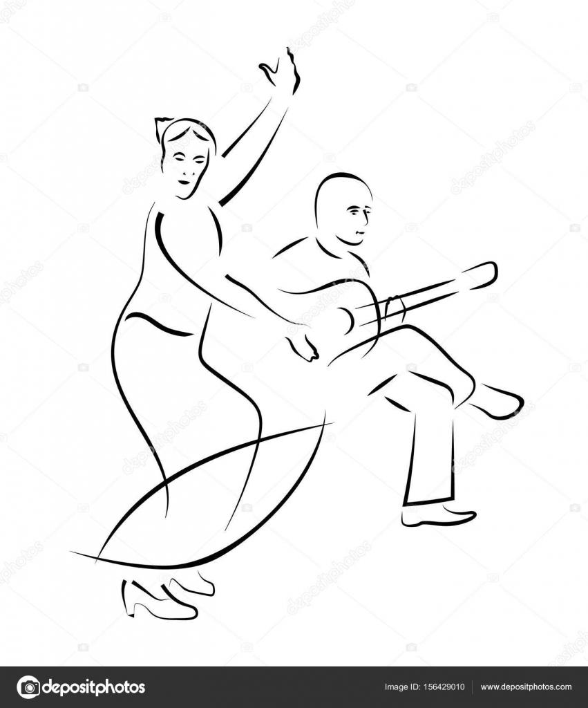 bailaora y guitarrista vector dibujo — Archivo Imágenes Vectoriales ...
