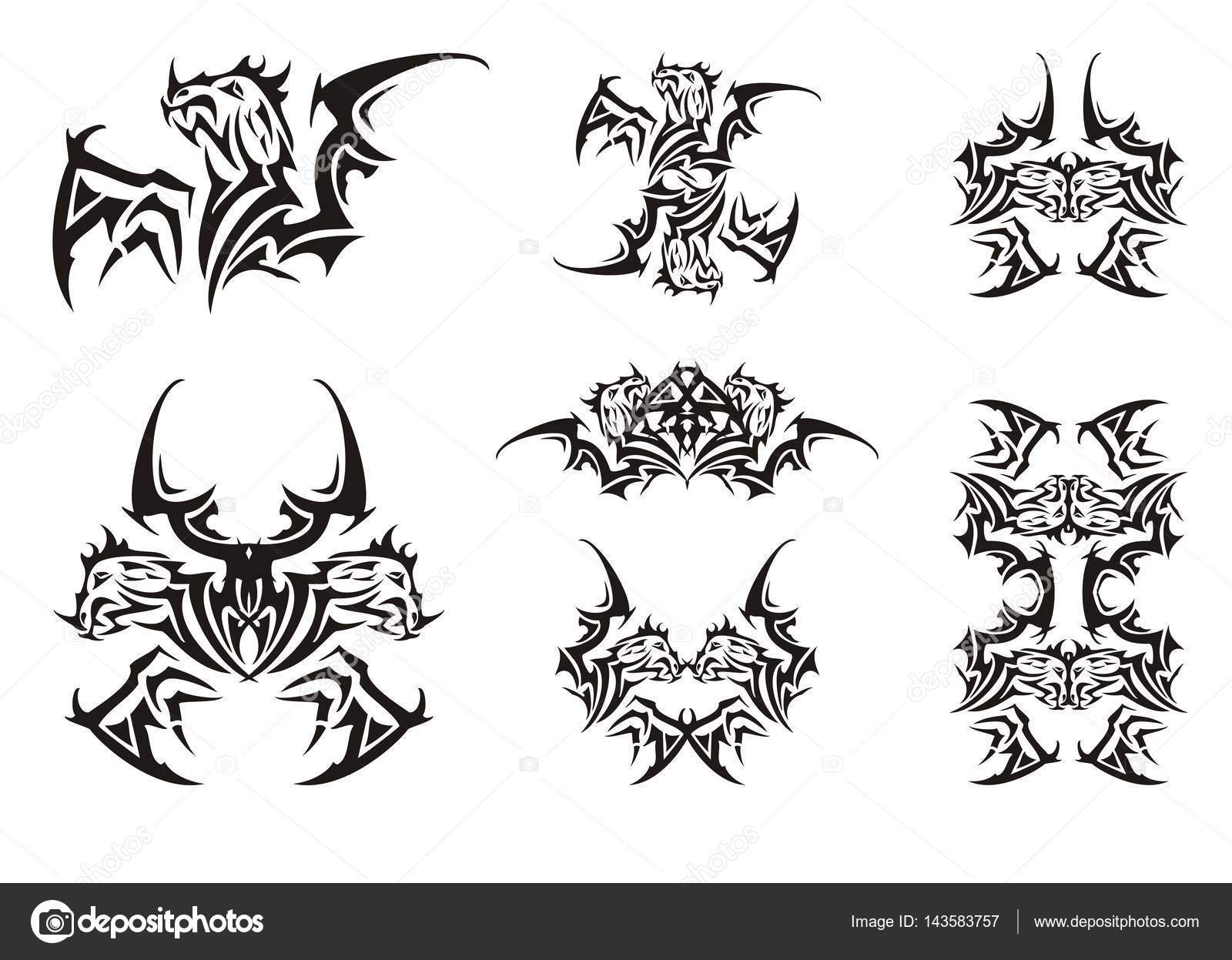 Peaked winged dragon symbols in tribal style stock vector peaked winged dragon symbols in tribal style stock vector buycottarizona Gallery