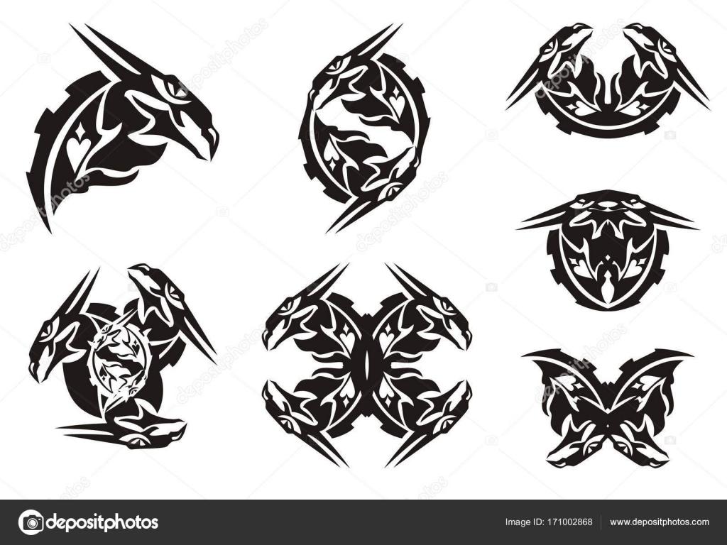 Black dragon head symbols in tribal style stock vector lion21 black dragon head symbols in tribal style stock vector buycottarizona Gallery