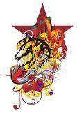 Grunge stylizované koňské hlavy cákance