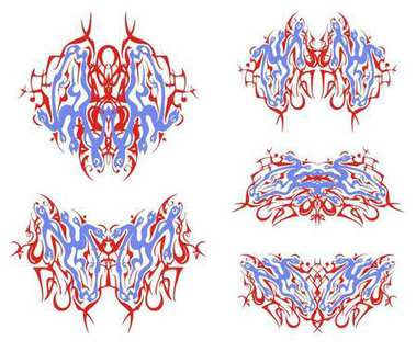 Tribal linear butterflies patterns created by the horse heads with snakes. Fantastic butterflies in red and blue tones formed by the creative mystic horse head, at which instead of a mane coiling snakes
