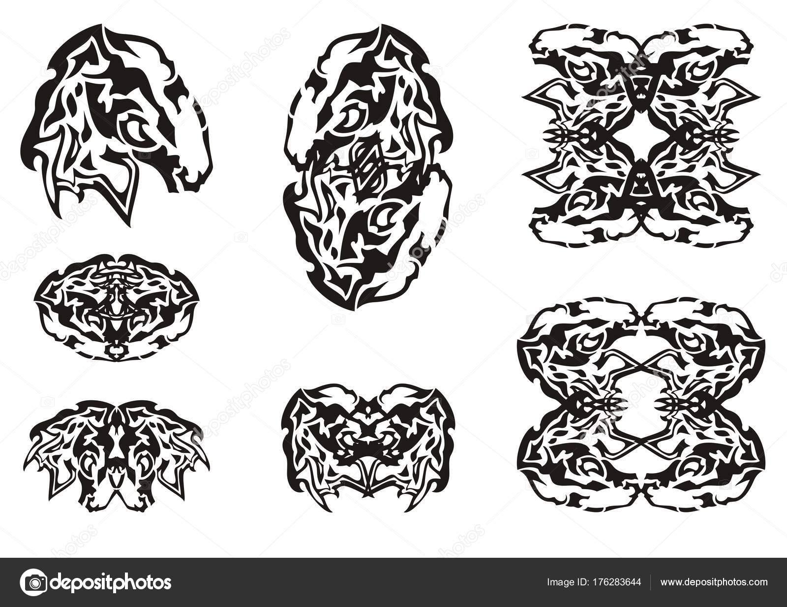 Símbolos Jefe Tribal Mustang Abstracto Conjunto Los Símbolos Doble ...
