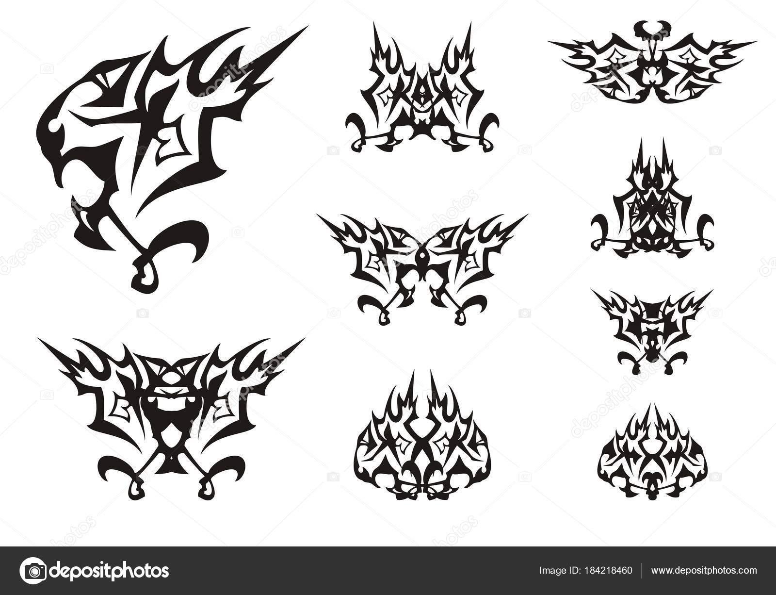 Ungewöhnliche Löwenkopf Fantastische Symbole Tribal Stilisiert