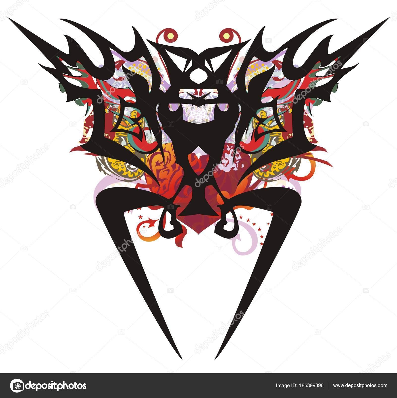 6332ef7fd Grunge Tribal Bat Symbol Red Heart Peaked Ethnic Bat Background — Stock  Vector