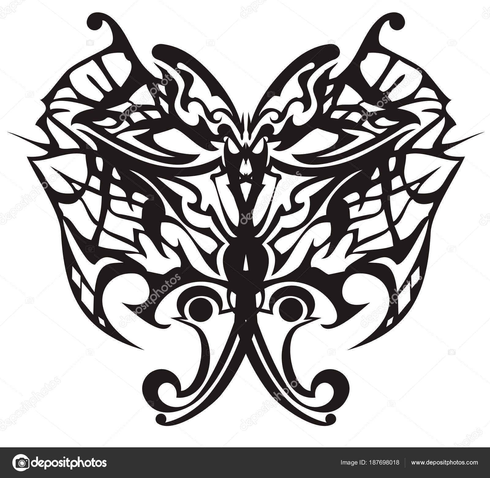 Vector Illustration Tribal Butterfly Adults Coloring Books ...
