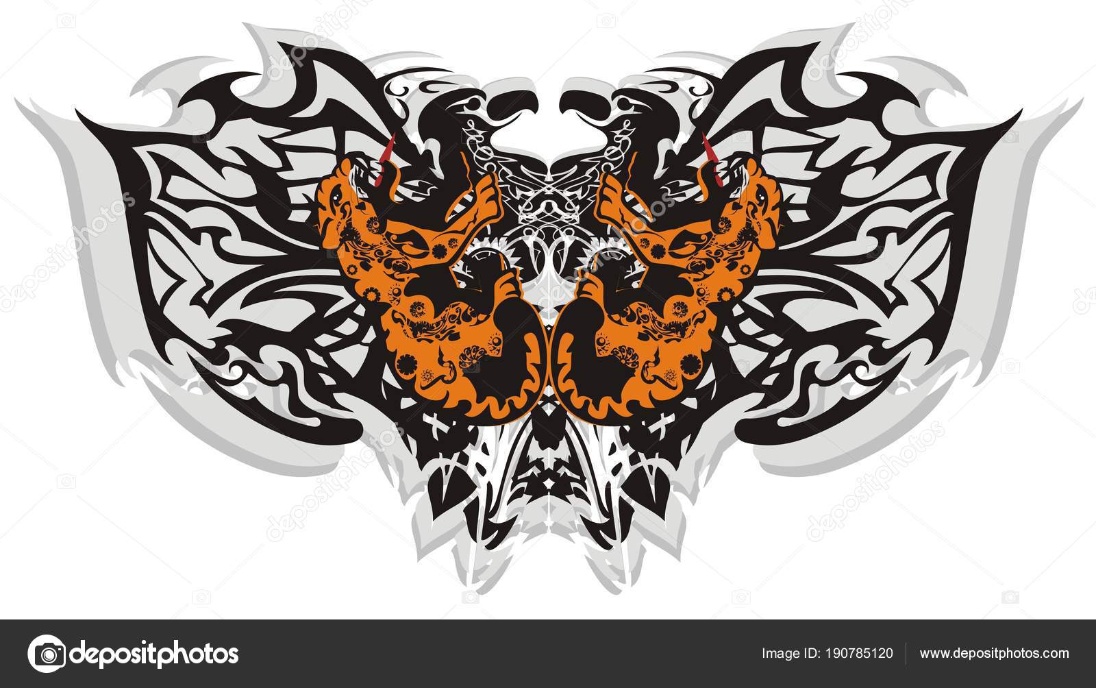 c72ea9b04 Tribal Butterfly Wings Leopards Creative Ethnic Terrible Butterfly Formed  Eagle — Stock Vector