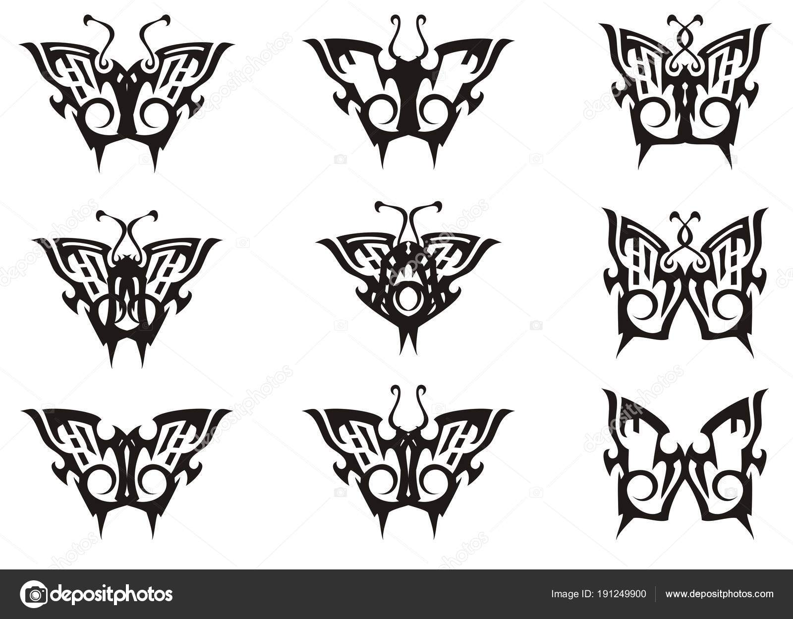 Tribal Butterfly Set Black White Tones Collection Simple Butterflies