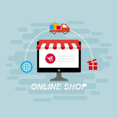 Online shopping concept with open laptop