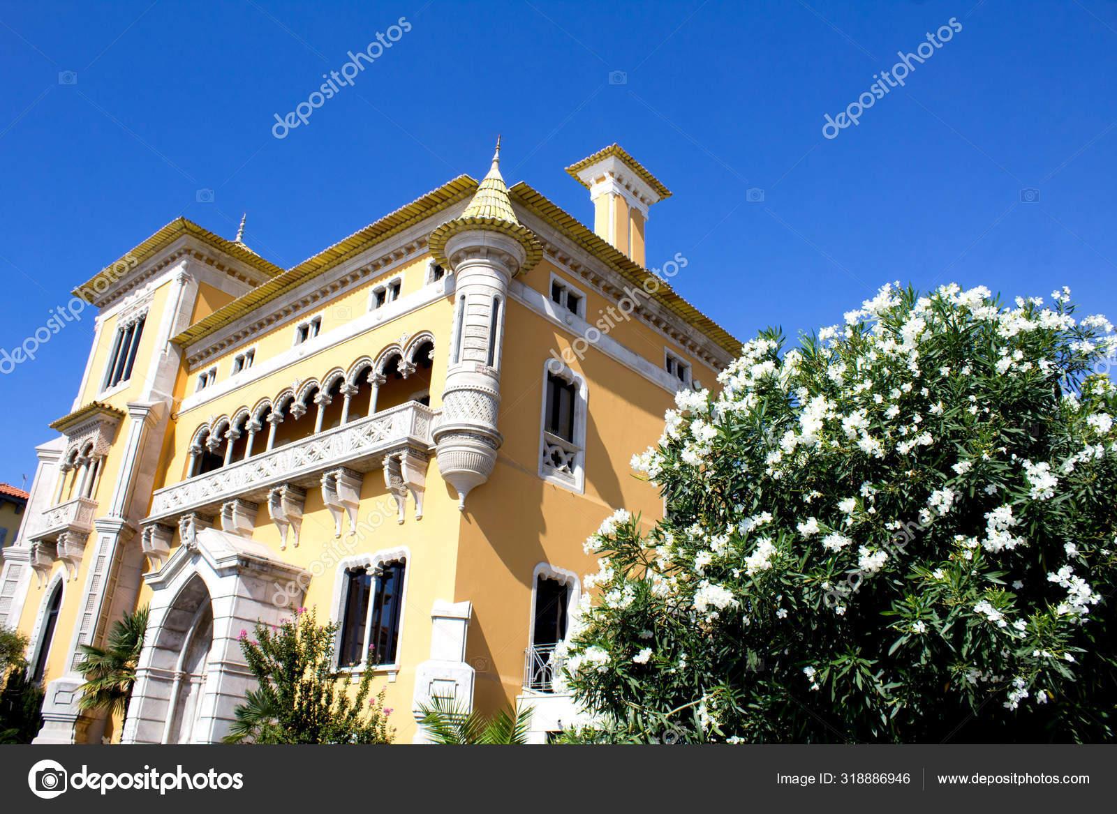 Belle Vue Sur Maison Jaune Les Fleurs Blanches Par Une ...