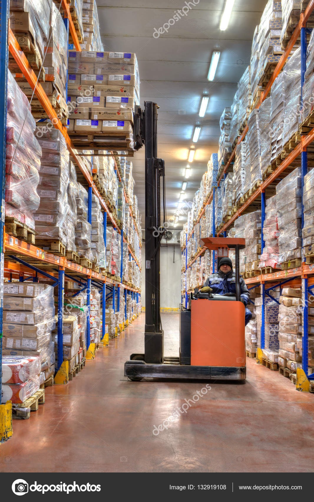 Forklift stacker working in very cold stores, cold storage