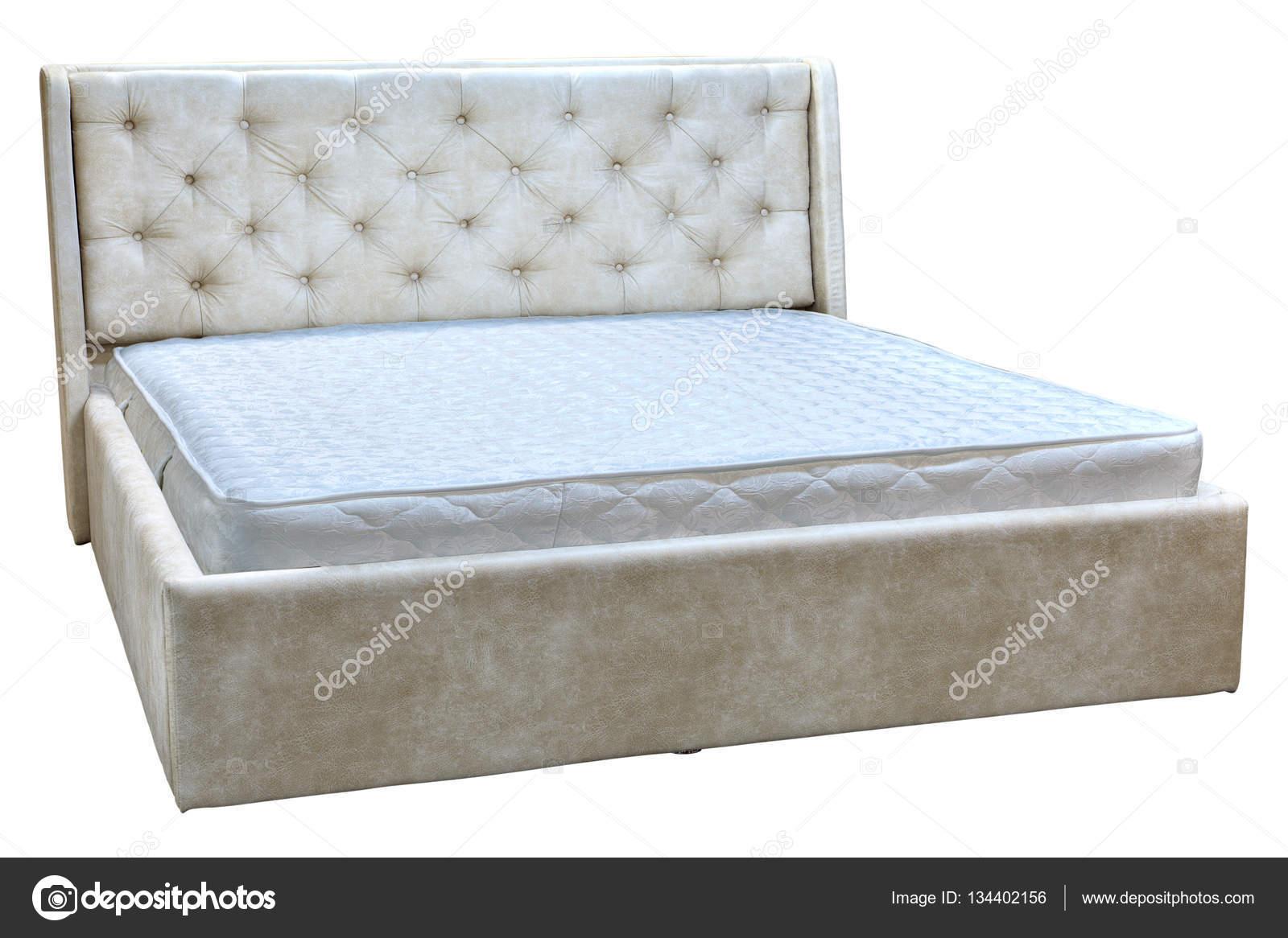 Marco de la cama con cuero artificial y colchón de resorte — Fotos ...