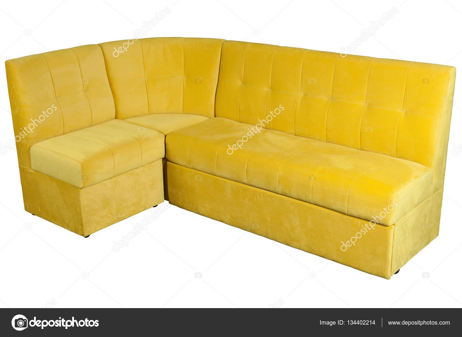 Sárga mikroszálas kanapé, étkező szoba tárhely — Stock Fotó ...