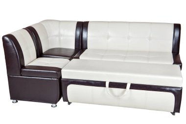 Corner sofa bed in faux leather, dining room furniture, isolated