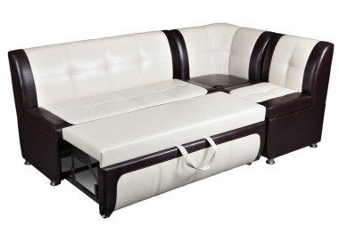 Corner sofa bed in artificial skin, furniture for kitchen