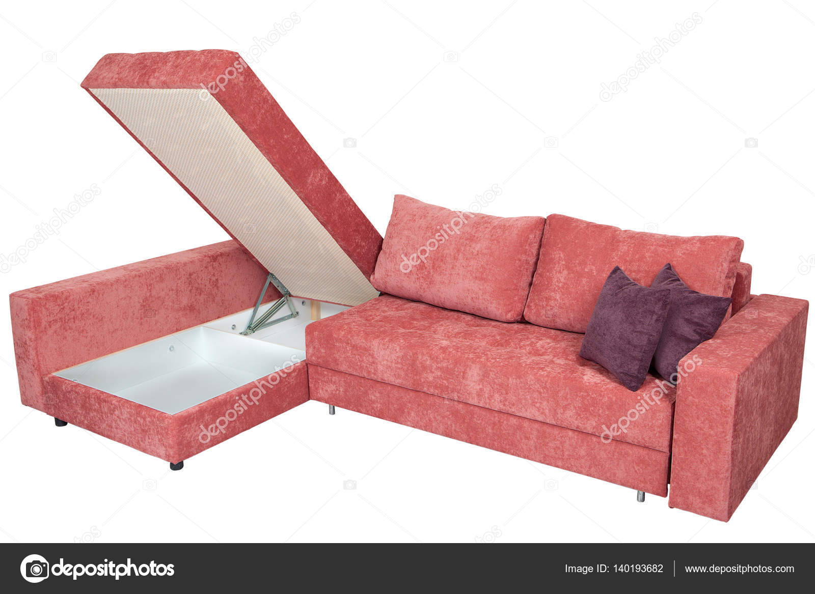 Stupendous Corner Sofa Bed Of Pink With Storage System Isolated On Caraccident5 Cool Chair Designs And Ideas Caraccident5Info