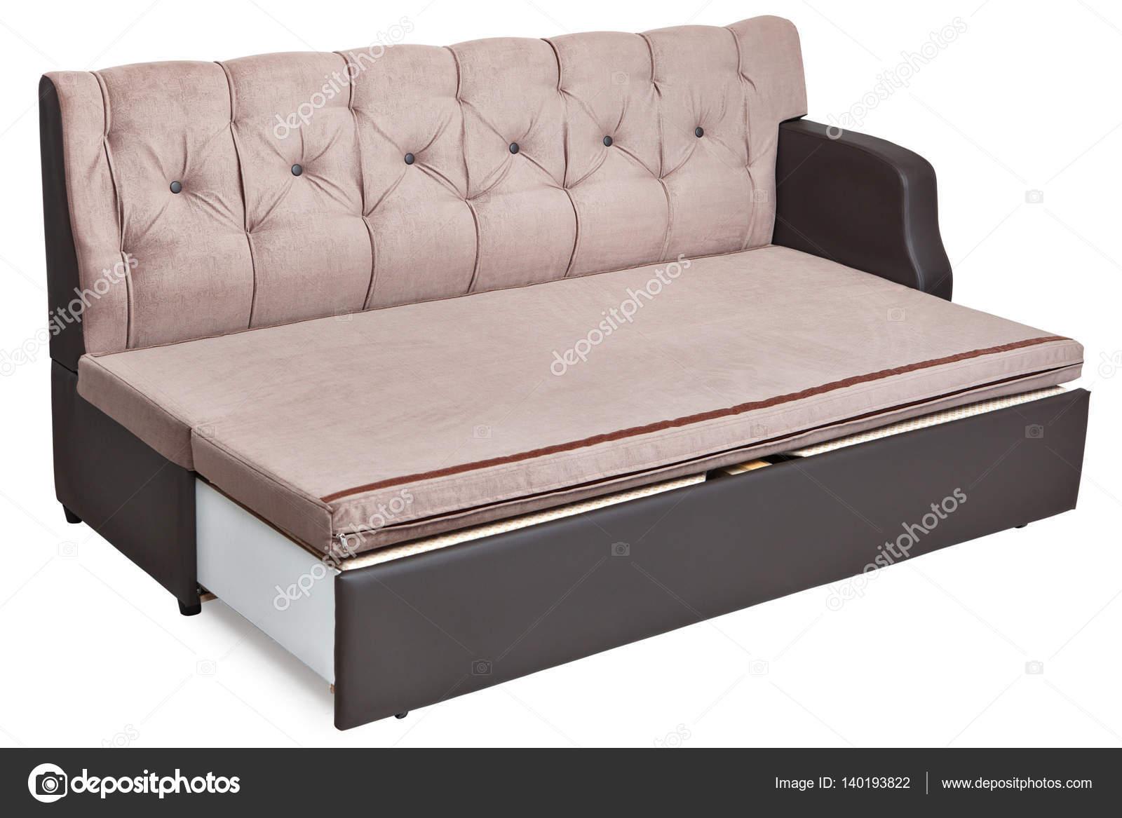 Sofá cama tamaño completo claro tela marrón y sistema de ...