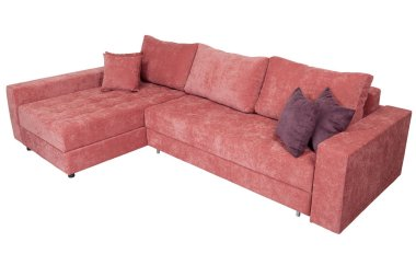 Corner convertible sofa-bed with storage space, upholstery soft pink fabric.