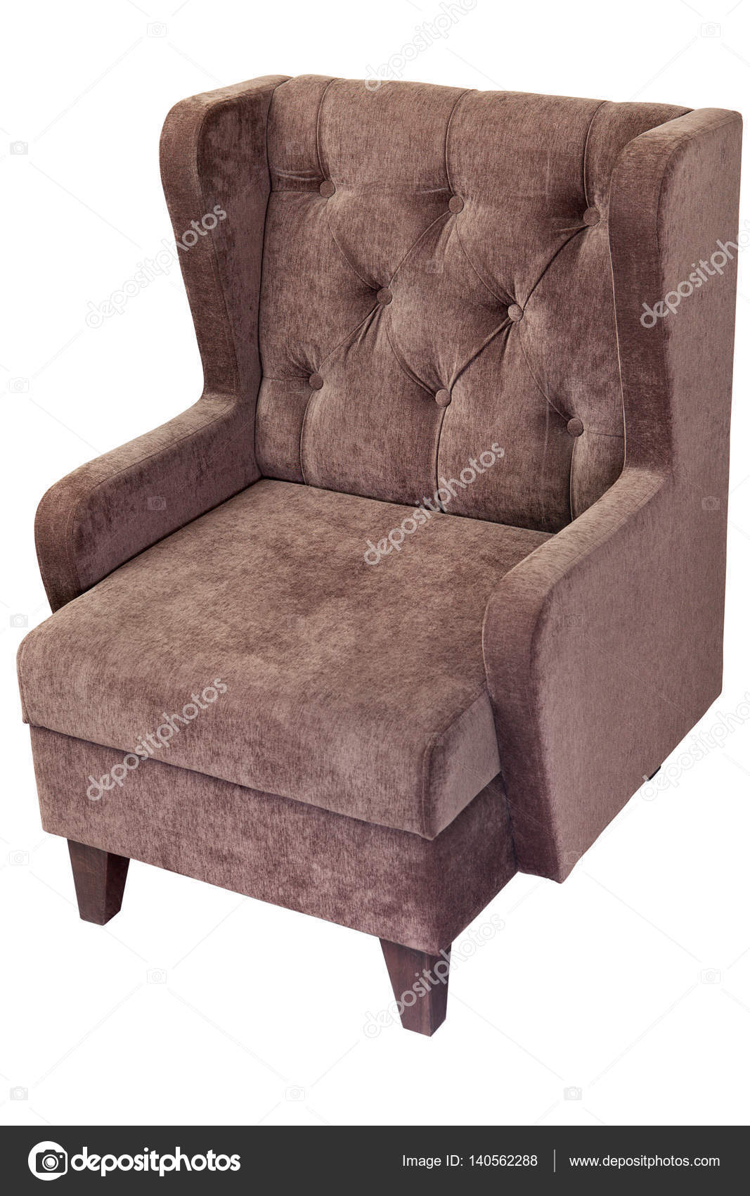 Single Seater Sofa With Light Brown Fabric Upholstered, On White U2014 Stock  Photo