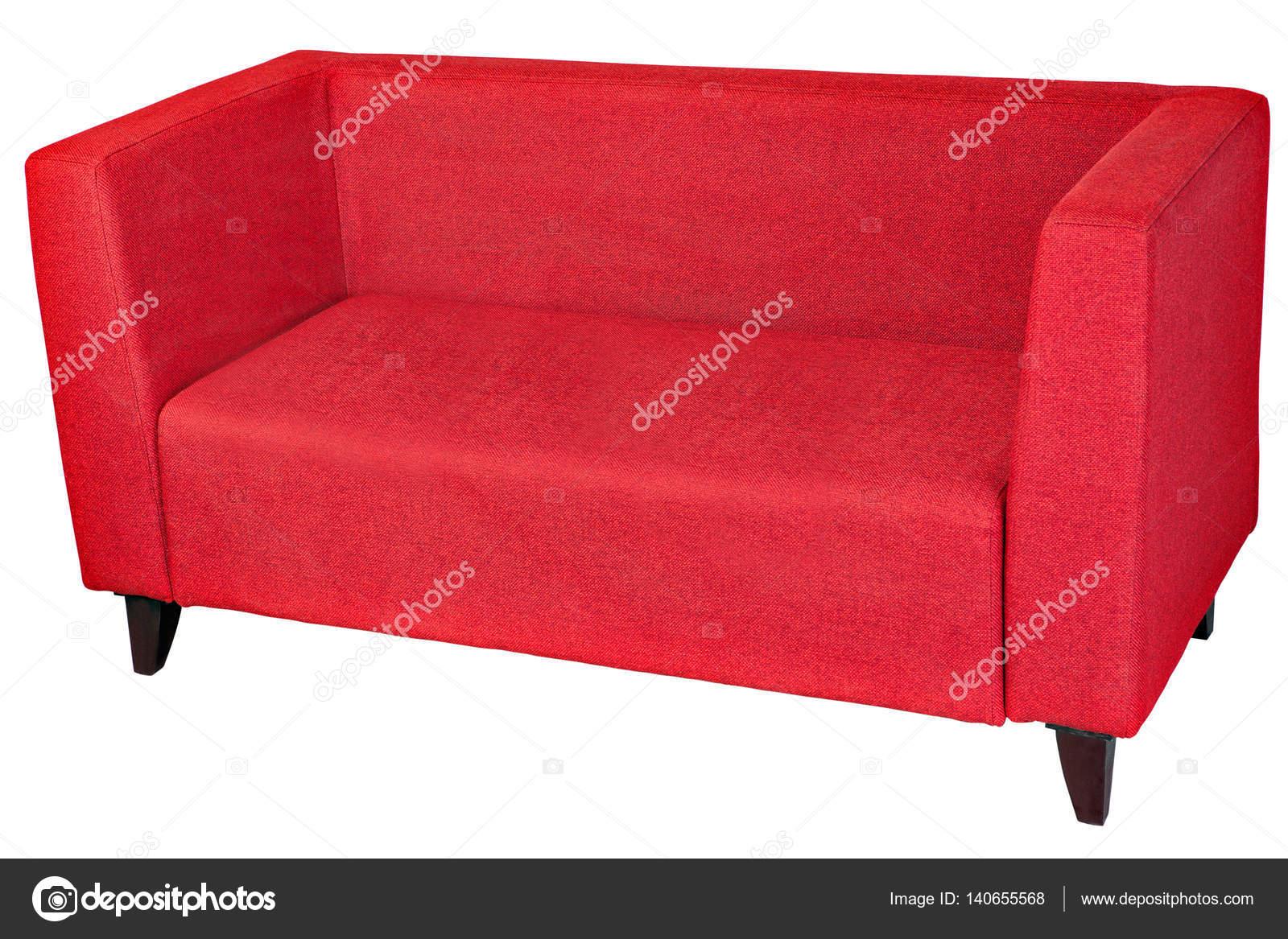 Polstermöbel 2 Sitzer Sofa in rotem Stoff mit Holzbeinen — Stockfoto ...