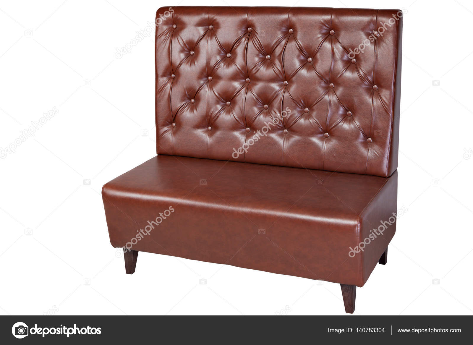 Astonishing Two Seater Brown Imitation Leather Office Couch Isolated On Ibusinesslaw Wood Chair Design Ideas Ibusinesslaworg
