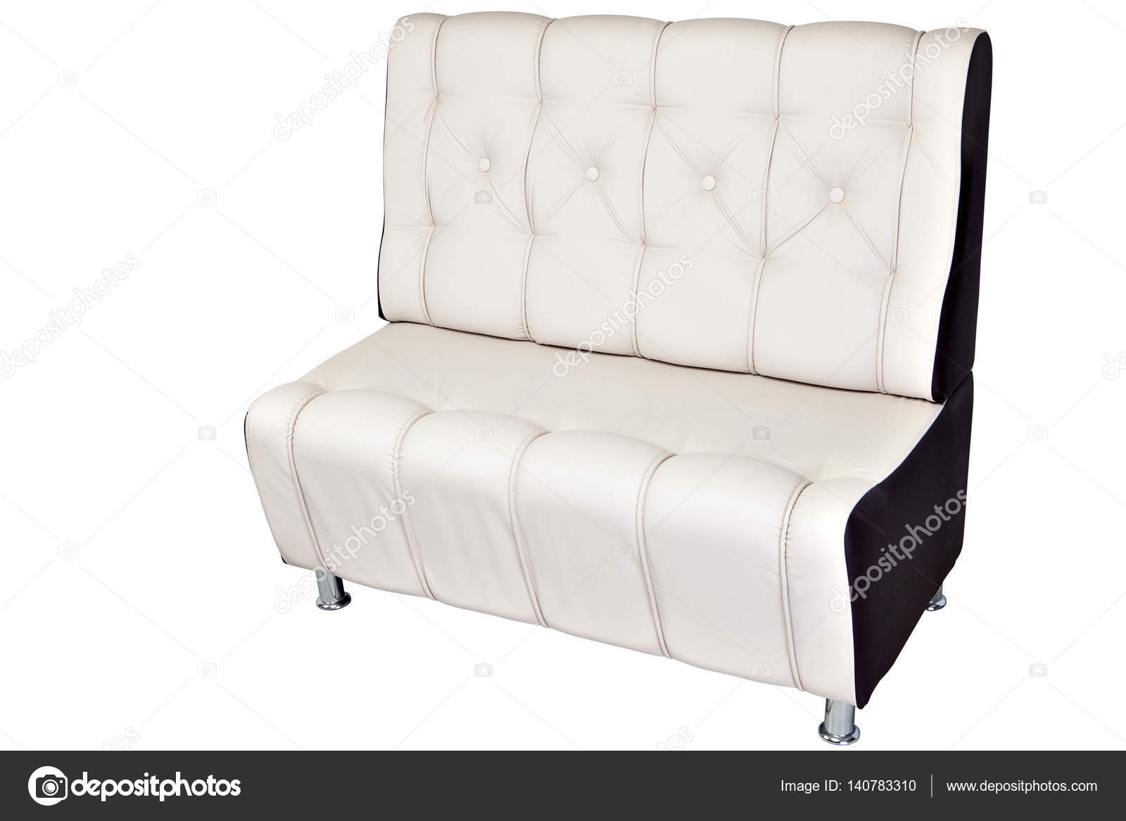Dobles plazas Sofá salón cuero blanco aislado en blanco — Foto de ...