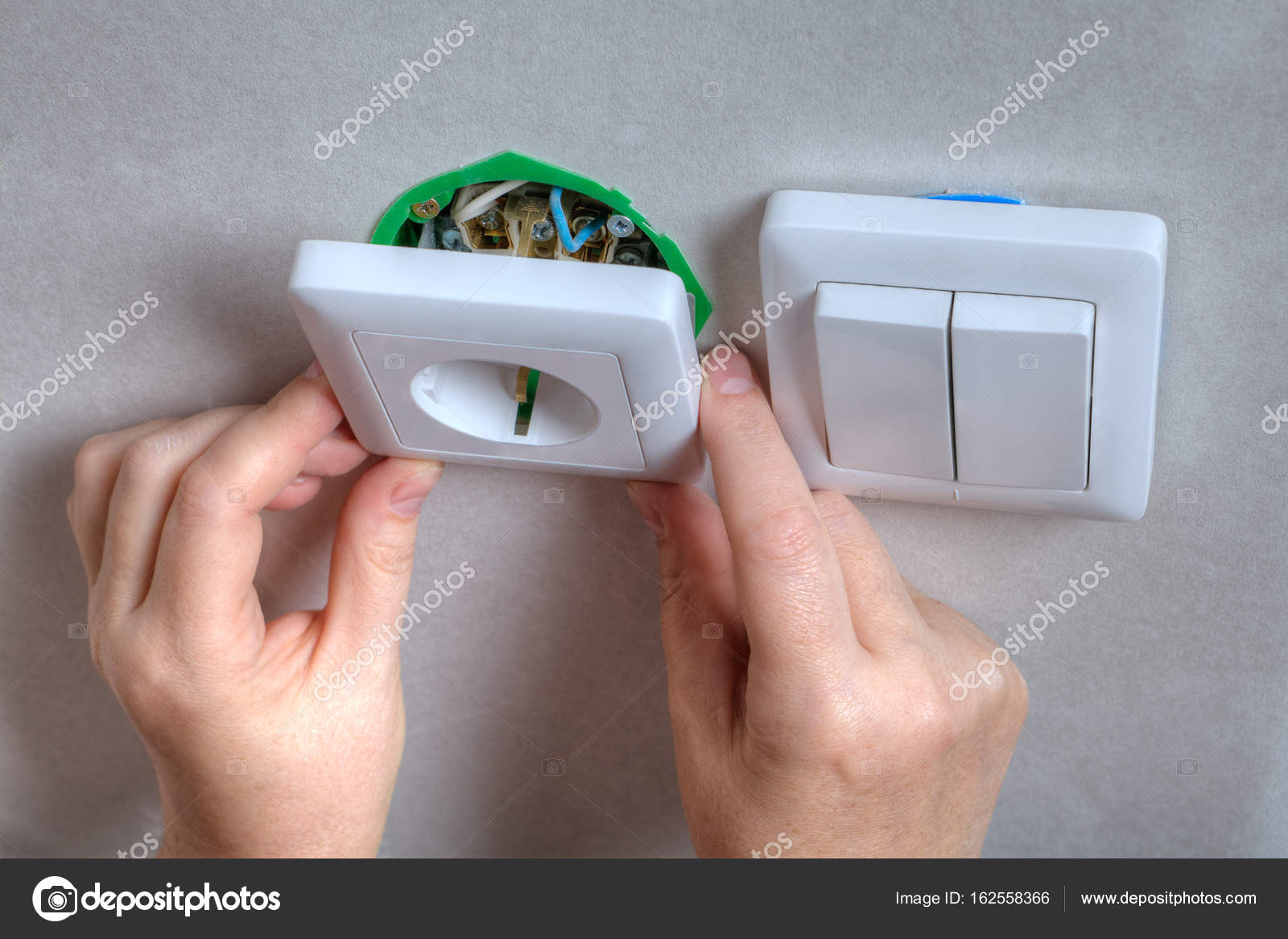 Outstanding Installing The Wall Outlet Into A Wiring Box Close Up Hands Wiring Cloud Peadfoxcilixyz