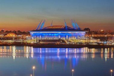 New soccer stadium on Krestovsky Island in St. Petersburg, Russia.