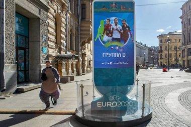 St. Petersburg, Rusya - 22 Mart 2020: Avrupa 'nın en üst düzey futbol ligleri virüs yüzünden askıya alındı ve COVID-19' un etkisini azaltmaya çalışan vatandaşlara kısıtlamalar getirildi.