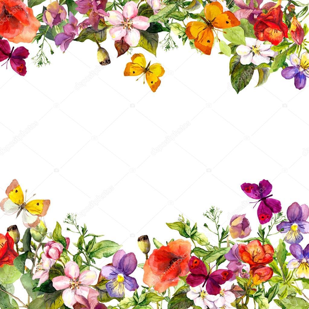 Frühling Sommergarten Rasen Kräuter Blumen Schmetterlinge