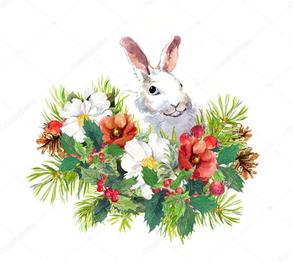winter kaninchen blumen pinie mistel weihnachten aquarell f r gru karte mit niedlichen tier. Black Bedroom Furniture Sets. Home Design Ideas