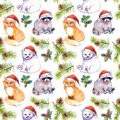 Fotografie Weihnachten Hintergrund - süße Tiere in rote Weihnachtsmänner Hüte, Tannenzweigen. Sich wiederholende Muster. Aquarell