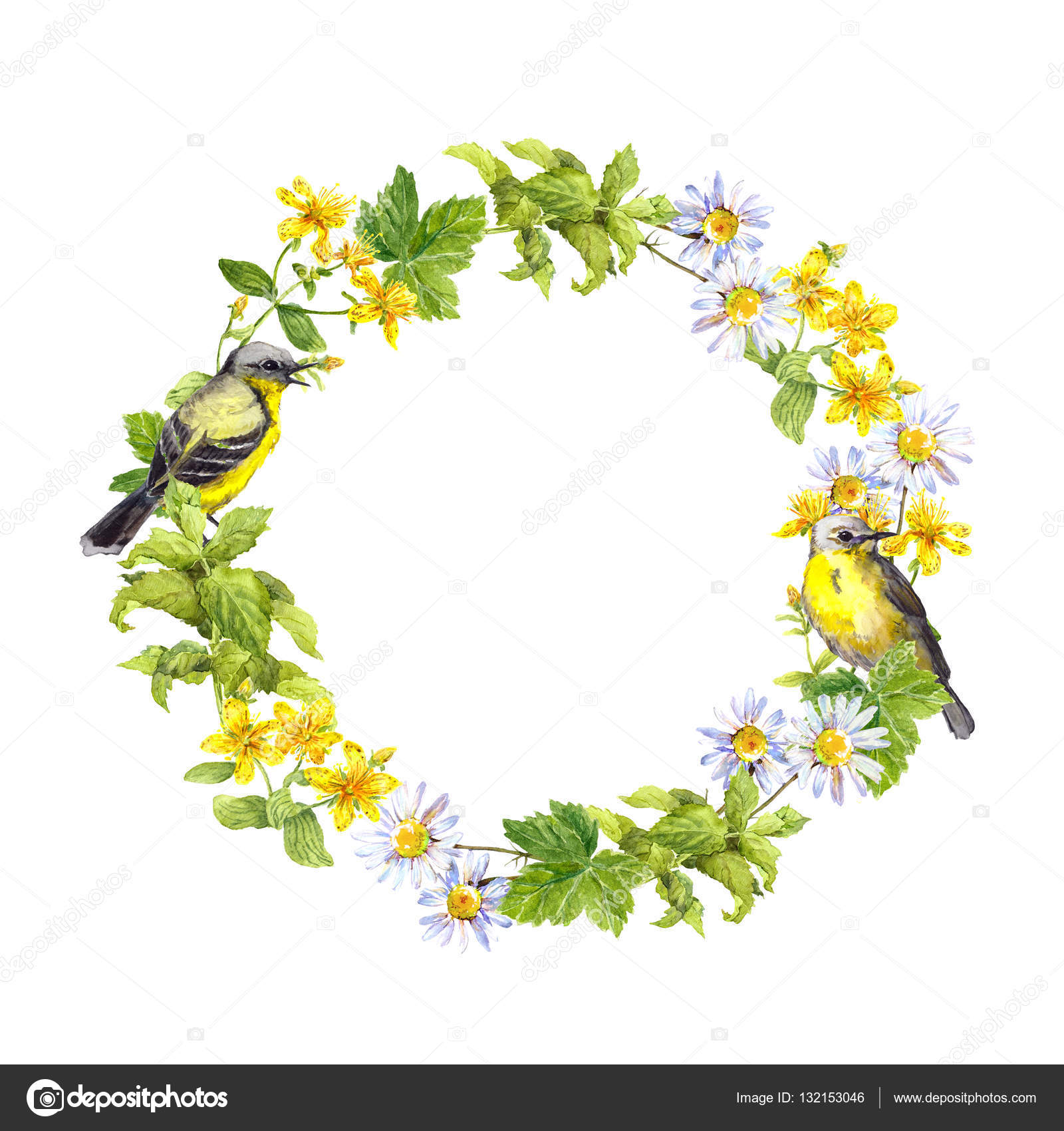Spring Birds Flowers And Herbs Floral Vintage Wreath Retro Watercolor Photo By Zzzorikk