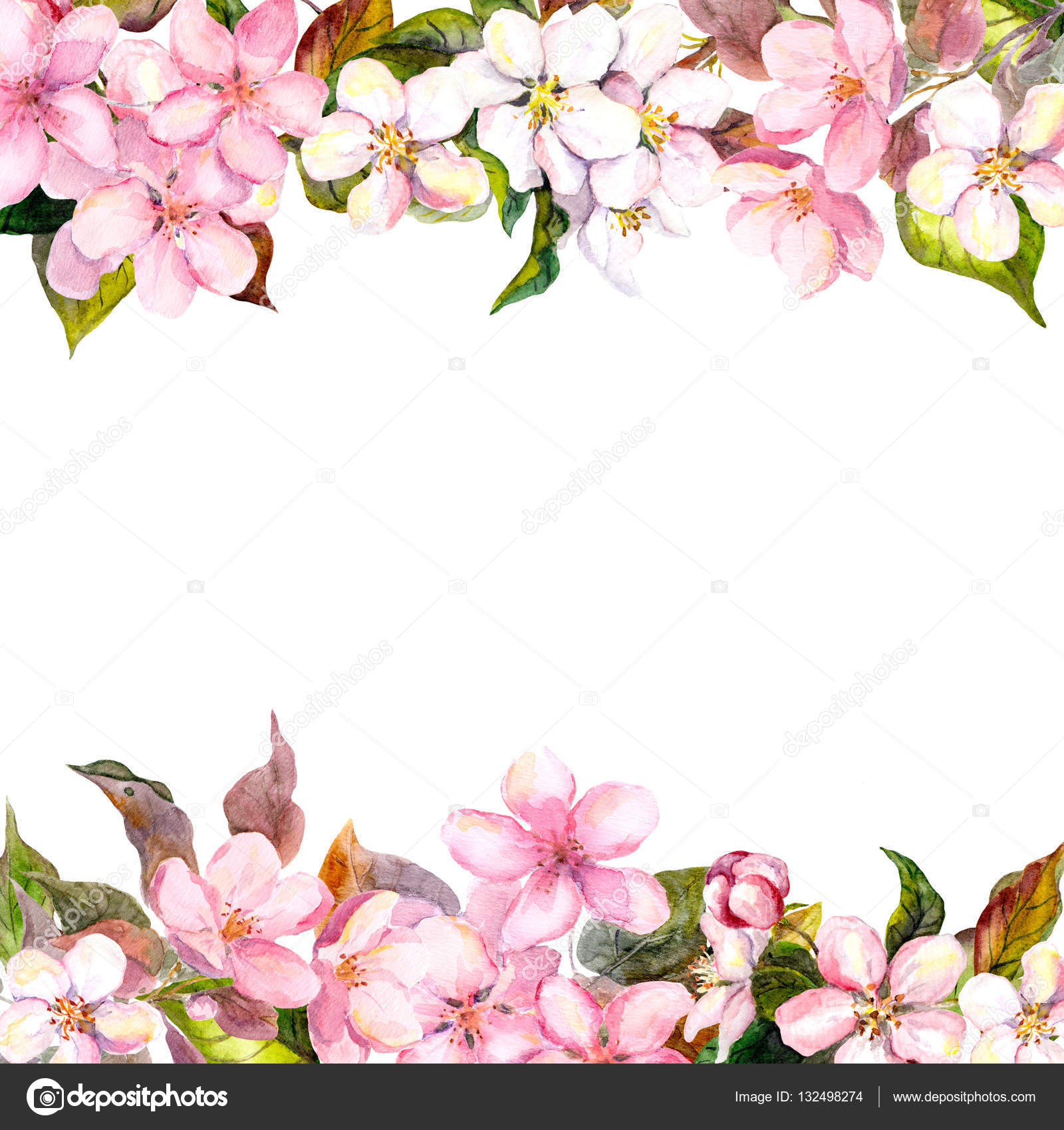 Flores de color rosado retras - manzana, flor de cerezo. Marco de ...