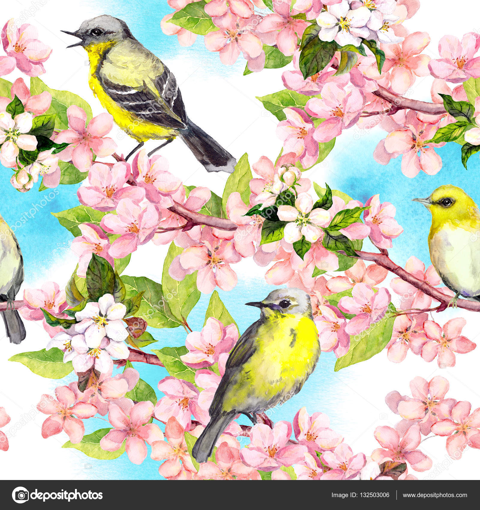 Spring Flowers Blossom Birds With Blue Sky Floral Seamless Pattern Vintage Watercolor
