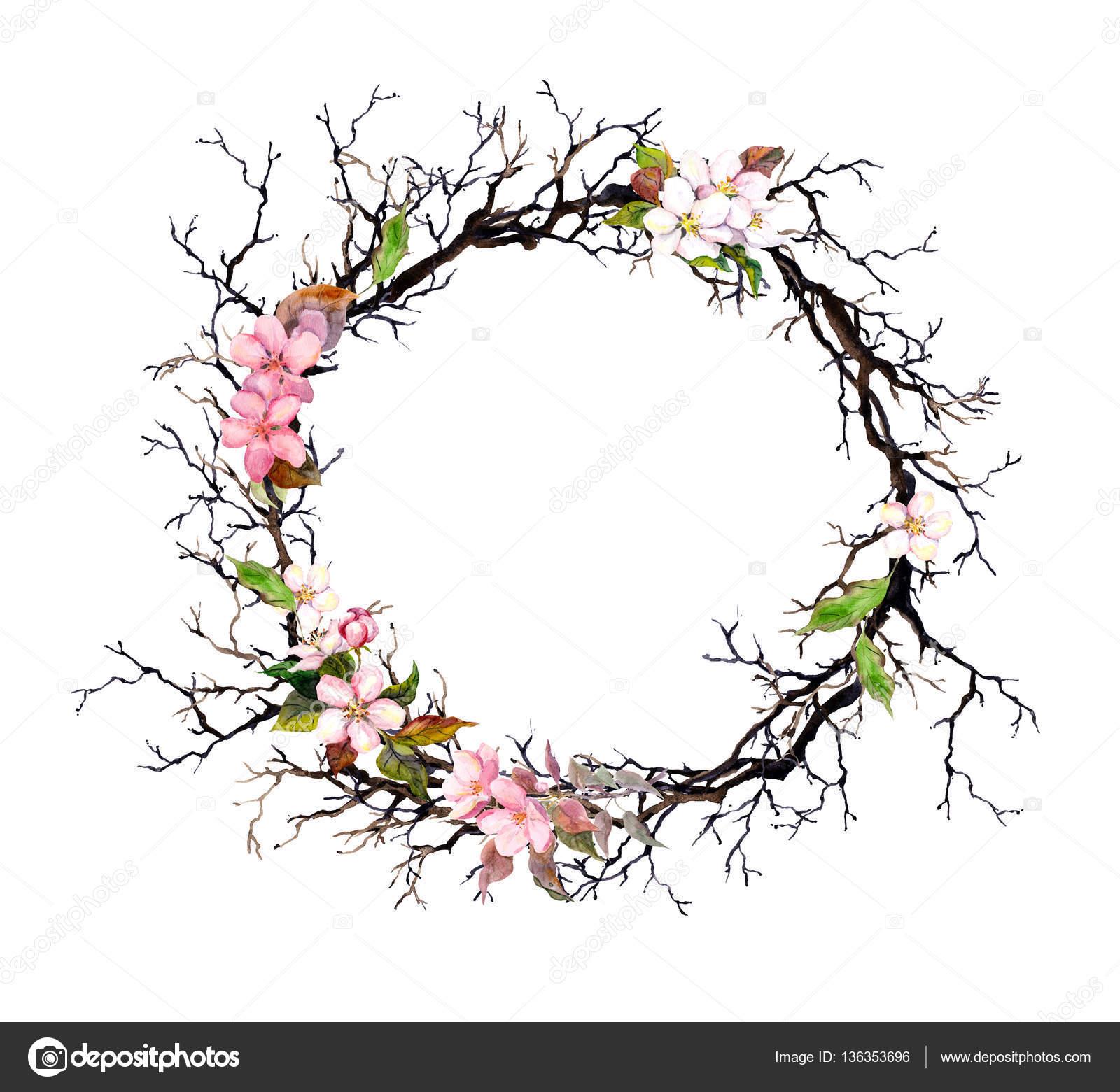 Blumenkranz - rosa Blüten. Aquarell runden Rahmen — Stockfoto ...