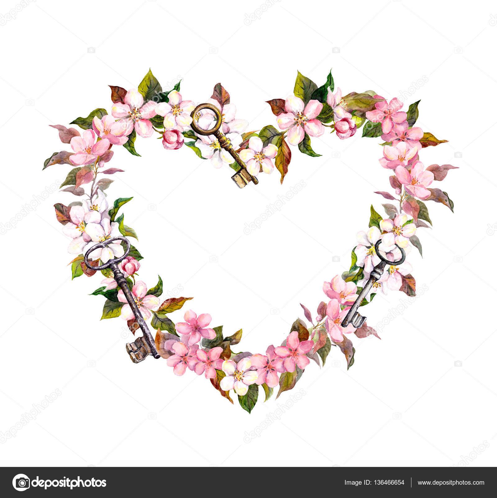 Couronne Florale Forme De Coeur Sakura Rose Fleurs Cles