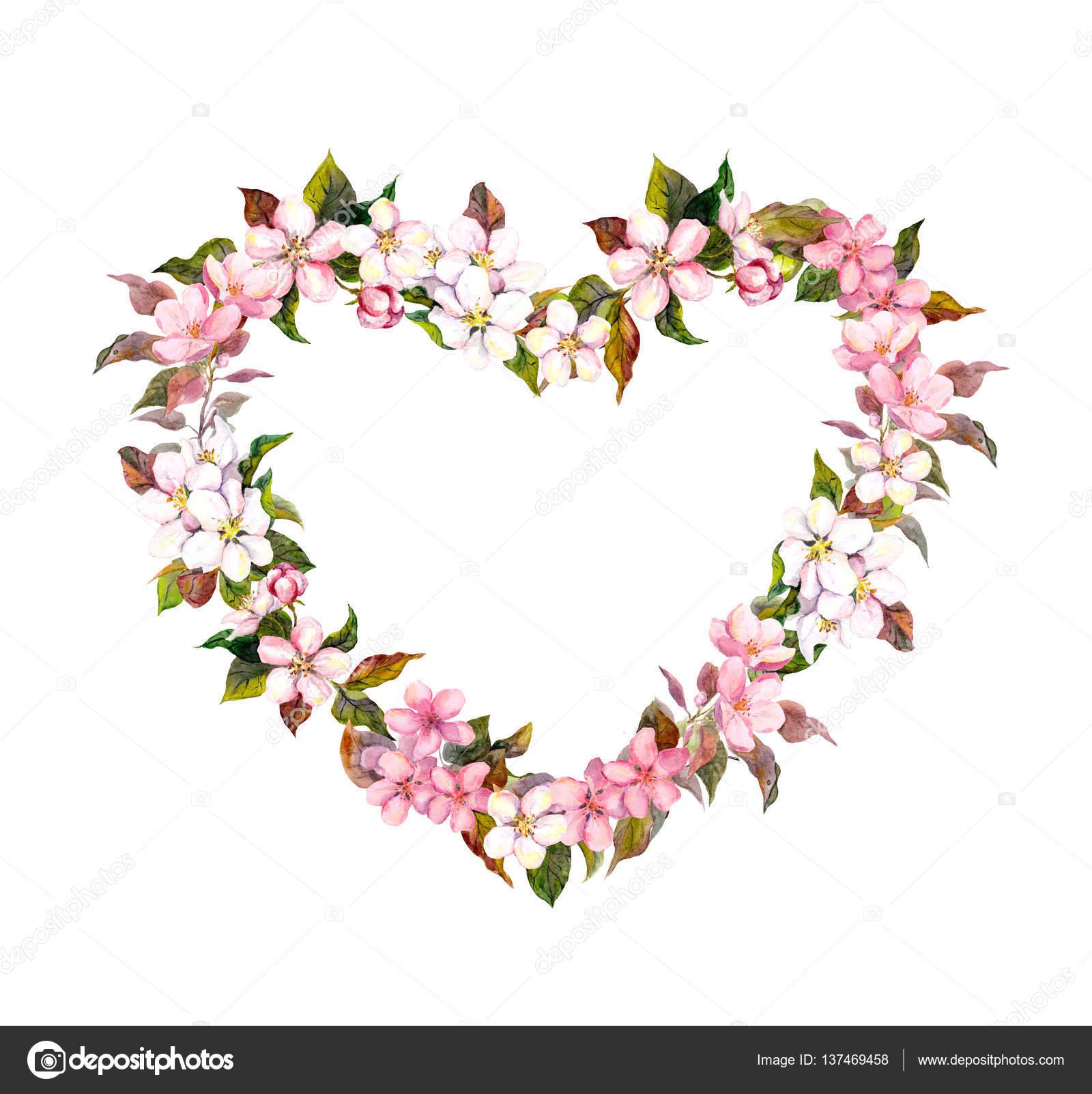 Blumenkranz Herzform Rosa Bluten Aquarell Fur Valentinstag