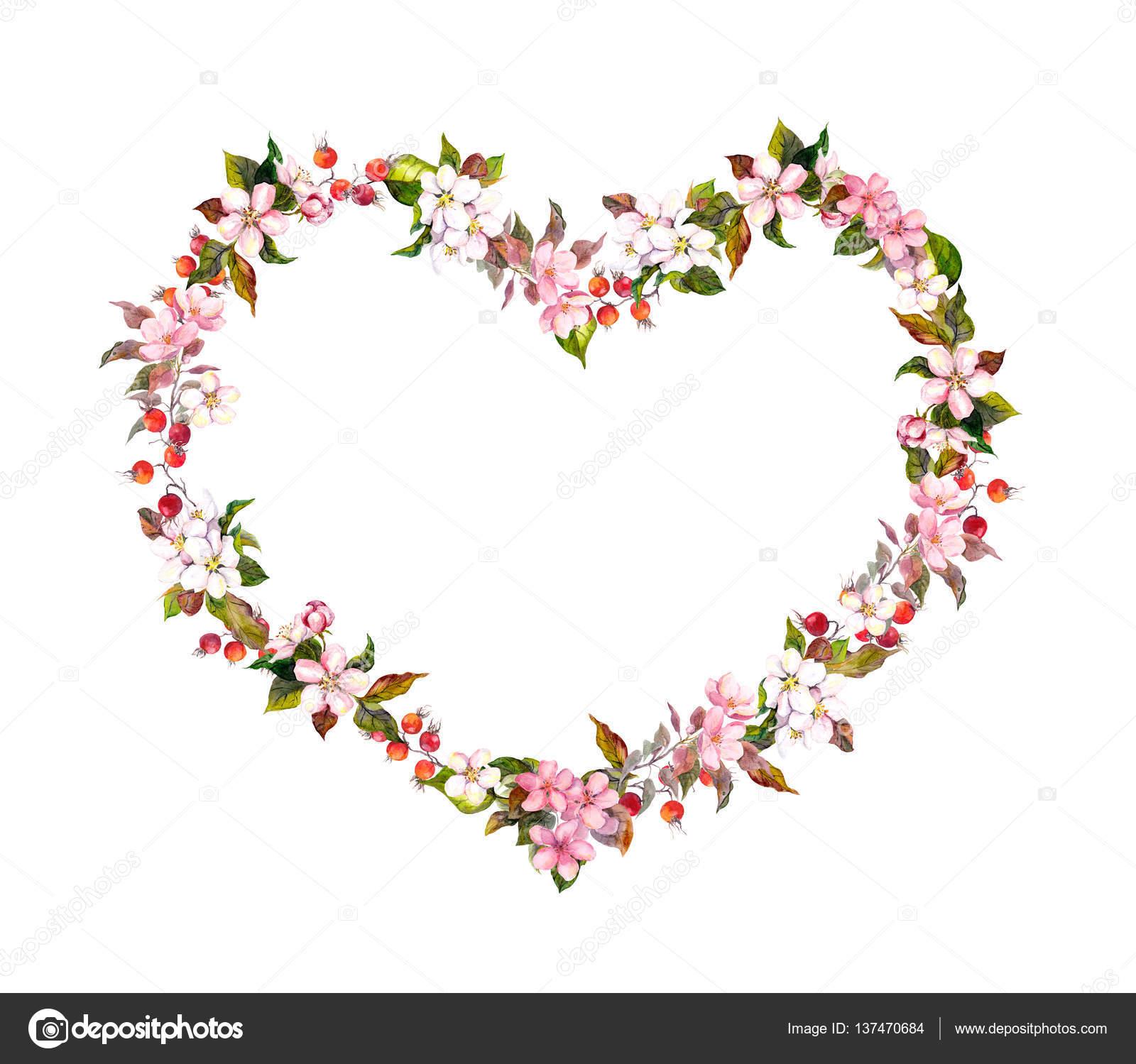 Floral Frontiere Forme De Coeur Fleurs De Printemps Aquarelle