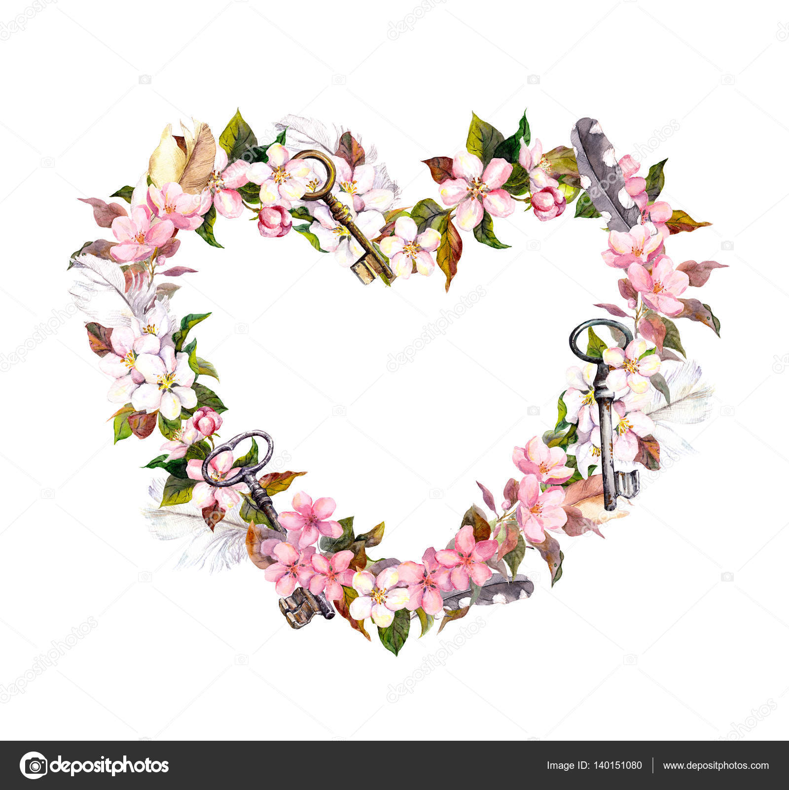 Floral Wreath Heart Shape Pink Flowers Feathers Keys