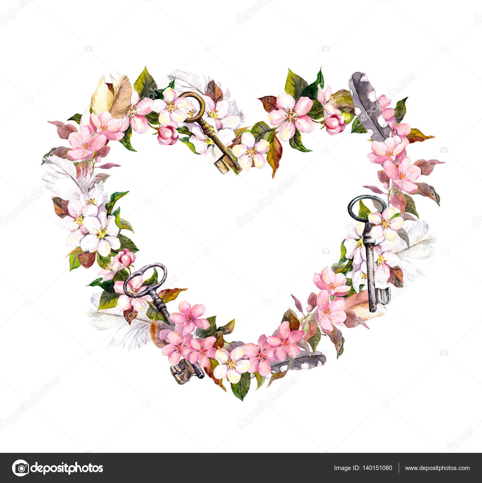 Couronne Florale Forme De Coeur Fleurs Roses Des Plumes Des