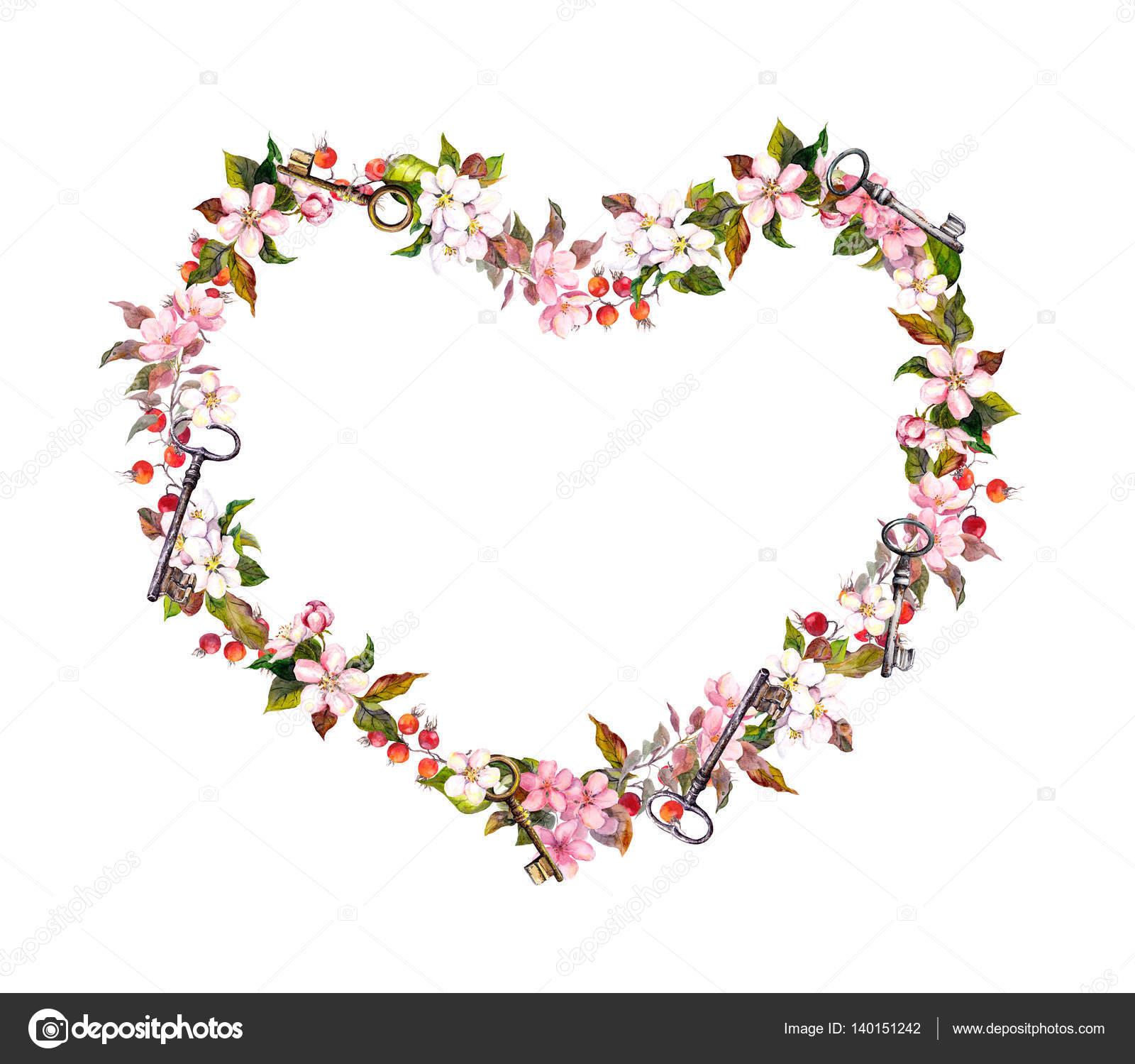 Floral wreath heart shape pink flowers hearts keys watercolor pink flowers hearts and keys watercolor for valentine day wedding photo by zzzorikk mightylinksfo