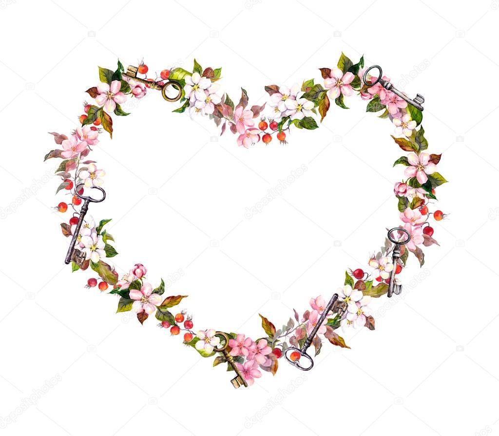 Floral wreath - heart shape. Pink flowers, hearts, keys. Watercolor for Valentine day, wedding