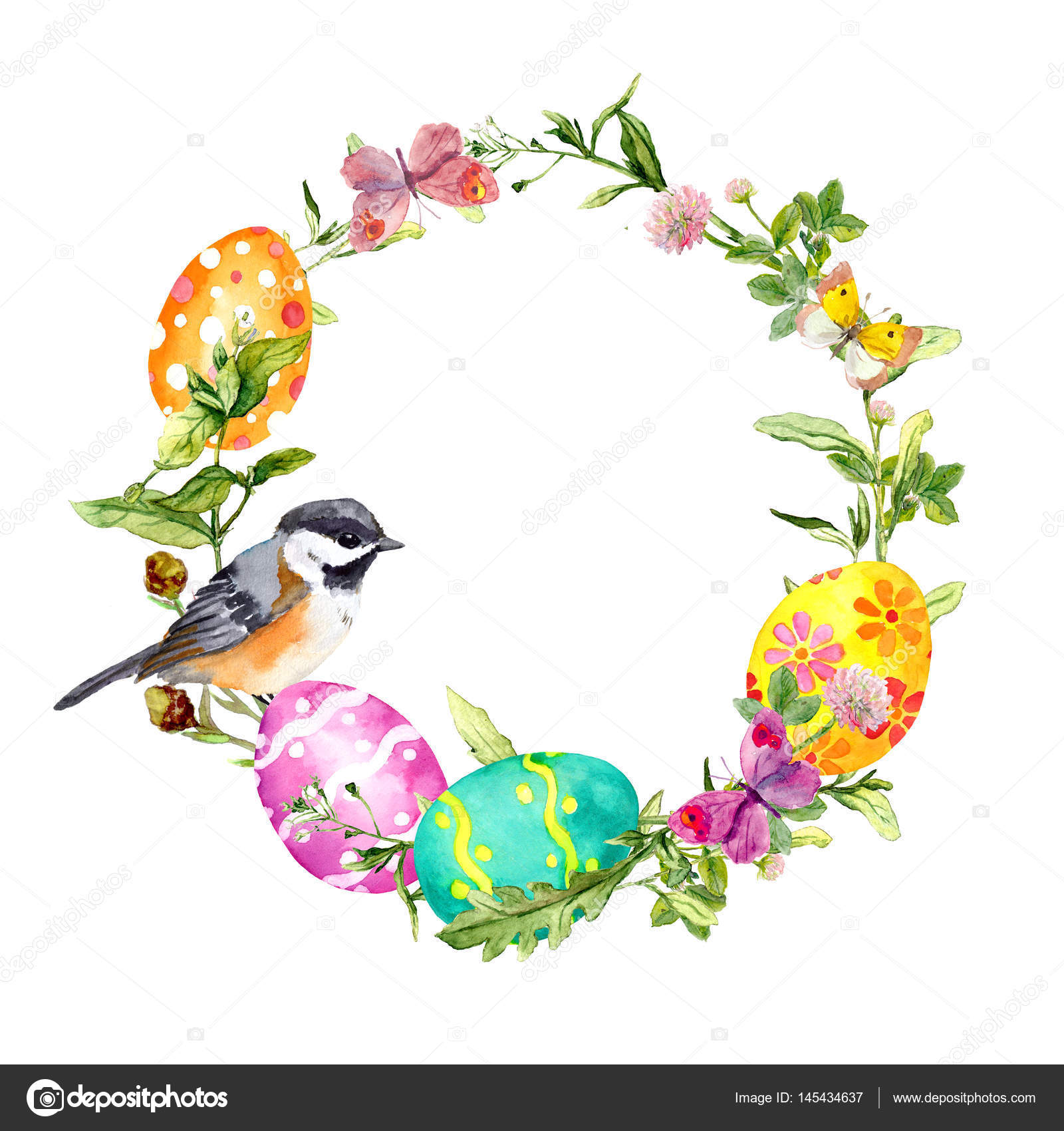Easter Wreath With Cute Bird Eggs In Grass And Flowers Floral Circle Border Vintage Watercolor Photo By Zzzorikk