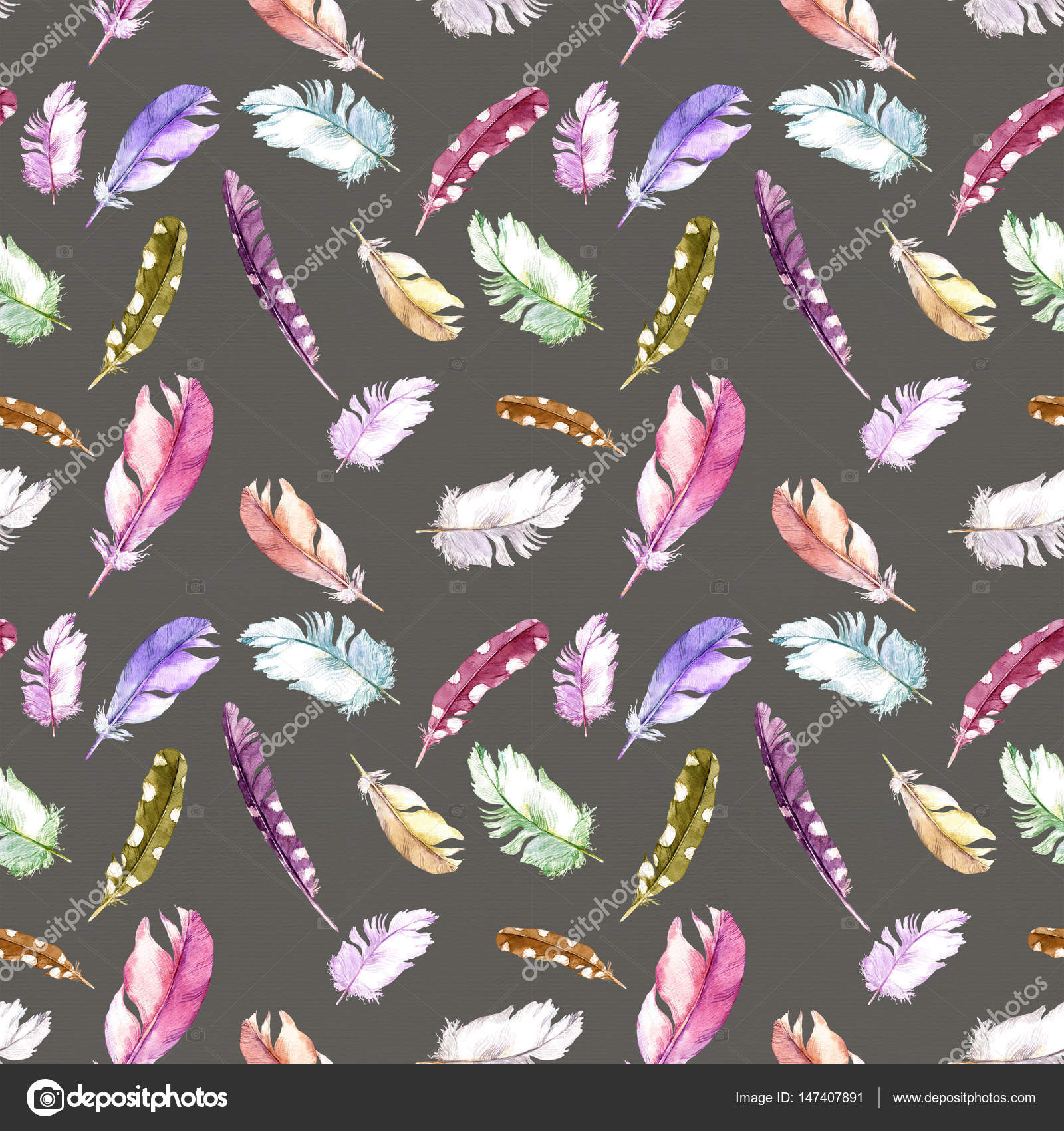 Feathers Pattern For Wallpaper Design Watercolor Seamless Background Stock Photo