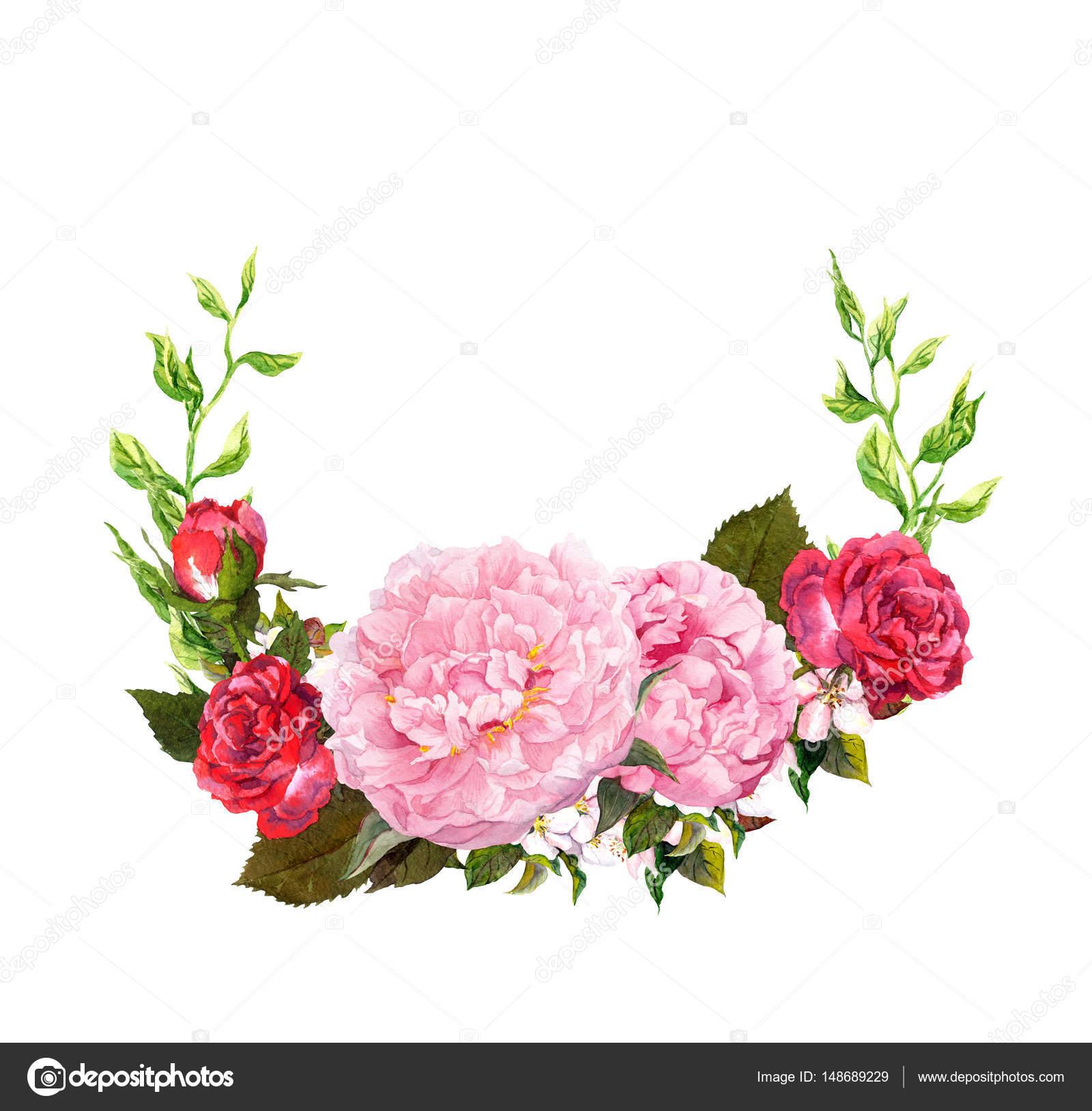 Couronne de fleurs et de roses fleurs rouge pivoine rose Fleurs pivoines