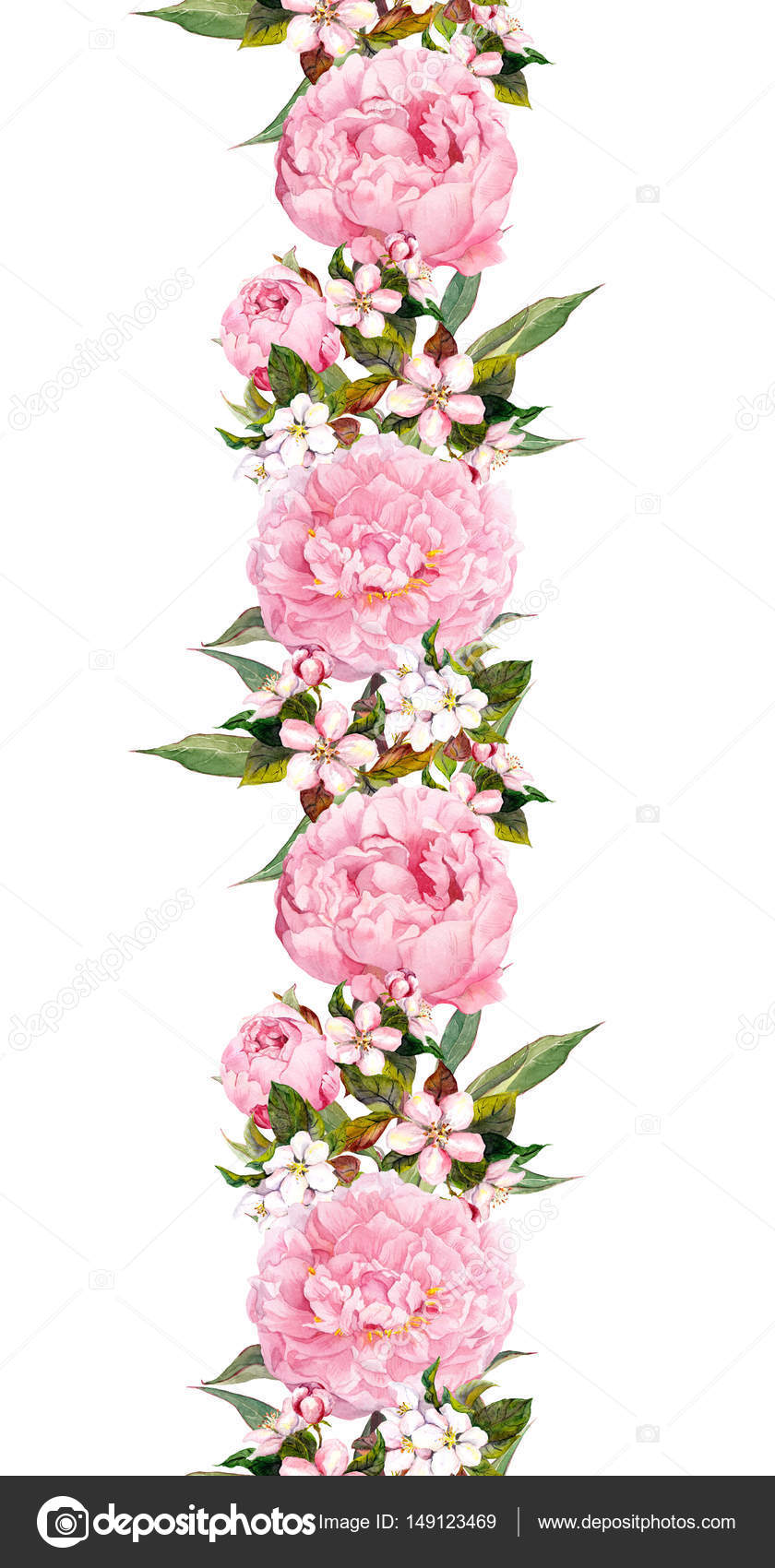 Floral Border With Pink Flower Seamless Vintage Strip Watercolor