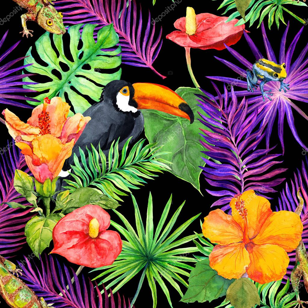 Tropical leaves, exotic flowers, toucan bird, gecko. Seamless wallpaper. Watercolor